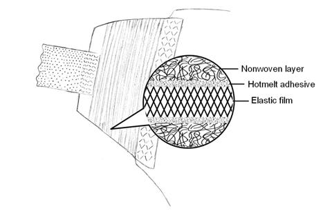 Fig. 3: Structure of an elastic diaper ear.