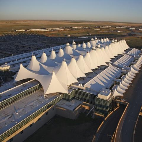 An aerial view of Denver International Airport