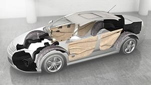 This rendering shows the areas of a vehicle body where Texel nonwoven innovations are being designed for use.